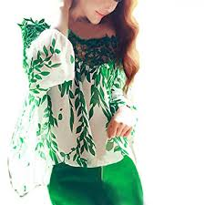 green womens blouse efinny hollow chiffon blouse leaf printed casual tops shirts