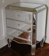 Mirrored Glass Bedroom Furniture Palazzo 3 Drawer Mirrrored Glass Bedside Chest Table With Silver