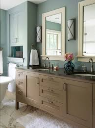 Off White Bathroom Vanities by Taupe Dusty Blue Off White Muted Blue Walls Surround This