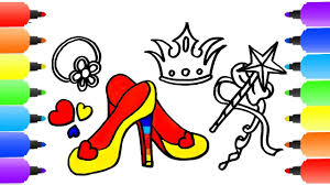 how to draw a princess set for girls coloring pages crown shoes