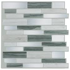 Peel  Stick Stainless Steel Tile Linear Mineral Tiles - Backsplash peel and stick