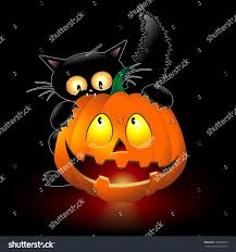 halloween pumpkin cartoons halloween cat cartoon biting pumpkin stock vector 148455257