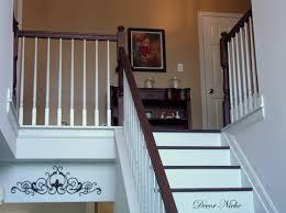 Staining Banister Dark Railing White Spindles Dark Brown Painted Stair Hand Rail