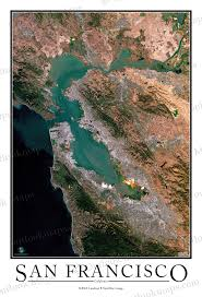 Map Poster San Francisco Satellite Map Print Aerial Image Poster