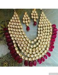 necklace set layered kundan necklace set with maroon drops