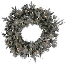 artificial christmas wreaths pre lit frosted wistler fir artificial christmas wreath clear