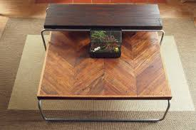 reclaimed chevron coffee table set the grain