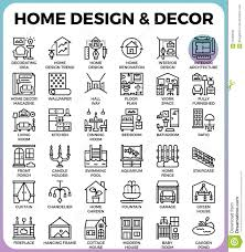 home design and decor icons stock vector image 93320648