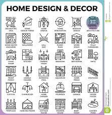 Home Design Decor App Home Design And Decor Icons Stock Vector Image 93320648