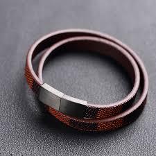 luxury leather bracelet images Moge new arrival trendy men 10 3mm luxury leather bracelets men jpg