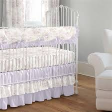 lavender shabby floral 3 piece crib bedding set carousel designs
