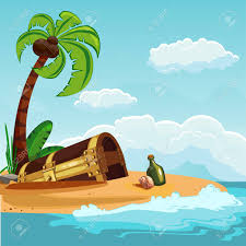 a treasure chest buried on an island with a palm tree vector