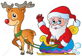 santa claus with sledge and deer vector illustration royalty