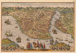 Istanbul Map 1572 View Of Constantinople Modern Day Istanbul Turkey By