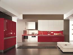 Kitchen Cabinet Latest Red Kitchen Extraordinary Parallel Shape Red Kitchen Come With Red Color