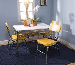 Yellow Retro Kitchen Chairs - retro kitchen yellow chairs white table blue walls home