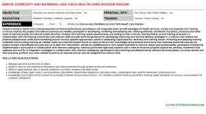 Community Resume Community And Maternal And Child Health Care Advisor Cover Letter