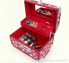 bridal makeup box 2018 heart mirror jewelry box for wedding ceremony