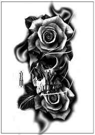 skull roses smoke design forearm tattoos digital scarry