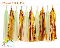 gold foil tissue paper 25 35cm 10pcs lot mint and gold foil tissue paper tassel garland