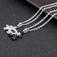 puzzle love necklace images Matching 2pcs set stainless steel puzzle piece pendant lovers jpg