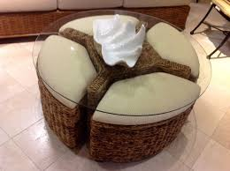 furniture wicker coffe table with storage ottoman for living room