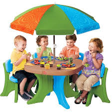 Kids Patio Chairs by Step2 Deluxe Play U0026 Shade Kids Patio Set Walmart Com