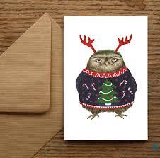 grumpy owl christmas cards by nic allan notonthehighstreet com