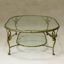 set of 5 brass u0026 glass u201cswan u201d coffee tables u2013 france 1950s