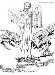 moses ten commandments color bible story color