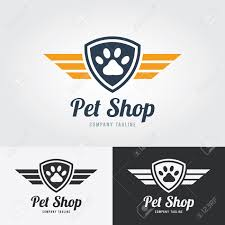 paw print template pet shop logo template animal paw print icon with shield and