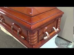 overnight caskets washington cherry veneer high gloss finish with white velvet