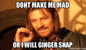 Ginger Snap Meme - dont make me mad or i will ginger snap one does not simply make