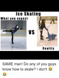 Skating Memes - ice skating what you expect vs reality same man do any of you guys