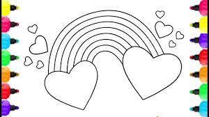 heart shape coloring pages and how to draw cute rainbow coloring