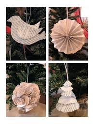tree ornaments from book pages paper crafts using old books