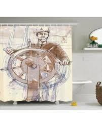 holiday savings nautical decor shower curtain set sea captain