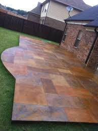 Pinterest Concrete Patio Stained Concrete Patio Made To Look Like Slate Wow If I Ever