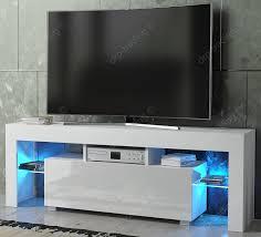 Led Tv Table Furniture Modern Tv Unit 130cm Cabinet White Matt And White High Gloss Free