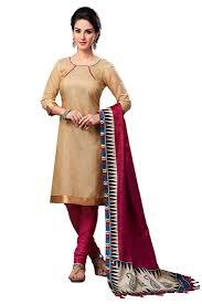 buy cream plain jute silk unstitched churidar dress materials online