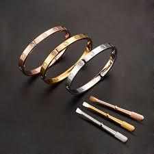stainless steel cartier bracelet images 316l stainless steel couple jewelry bracelet bangle women men jpg
