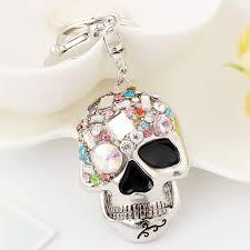silver skeleton ring holder images Easya evil skull keychain multi color rhinestone unique jewelry jpg