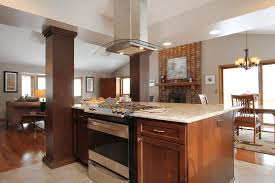 concrete countertops kitchen island with cooktop lighting flooring