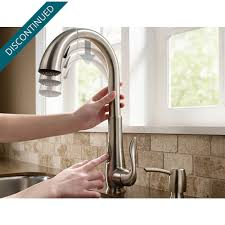 stainless steel elevate 1 handle pull down kitchen faucet f 529