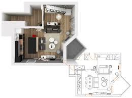projet cuisine 3d plan 2d et 3d pour l aménagement d une pièce à vivre et d une