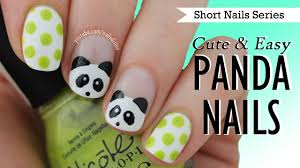 cute u0026 easy panda nail art nail art for short nails 9 youtube