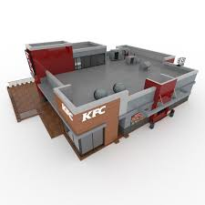 3d kfc 2 storey fast food restaurant cgtrader