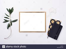 home decor objects golden frame mock up on white tabletop background home decor