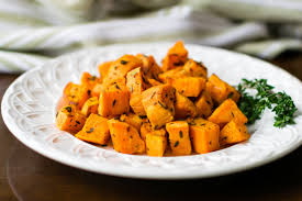 thyme roasted sweet potatoes recipe dairy free vegan paleo