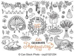 doodle thanksgiving decorative garland freehand vector clipart
